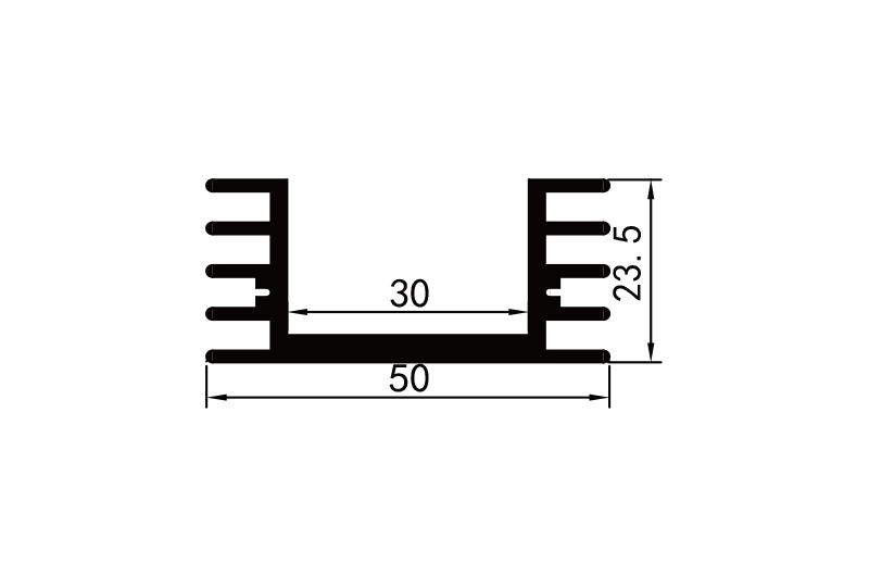 KS-5004 5cm型材散熱器參數圖電子散熱器規格型號(hao)尺寸