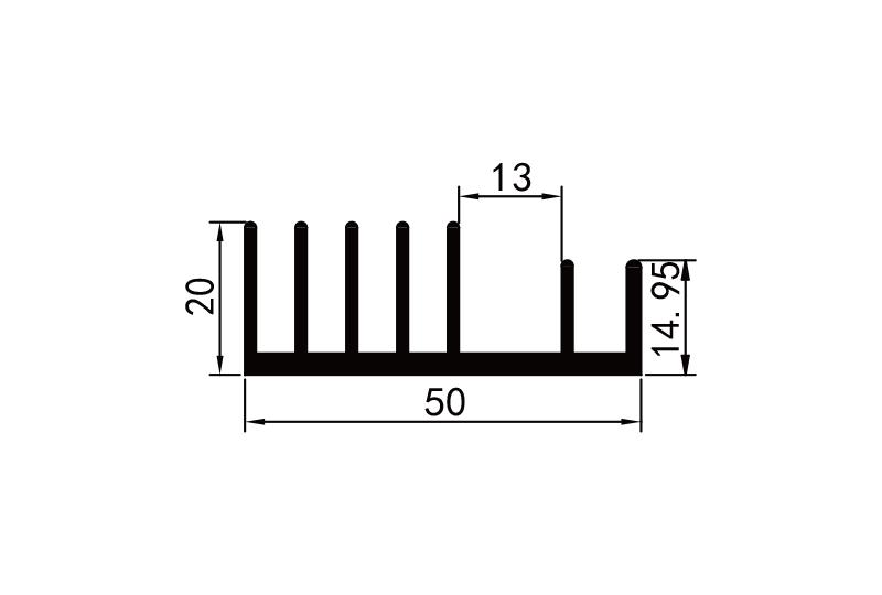 KS-5011 5cm插(cha)片型材散熱器參電子散熱器規格型號(hao)尺寸